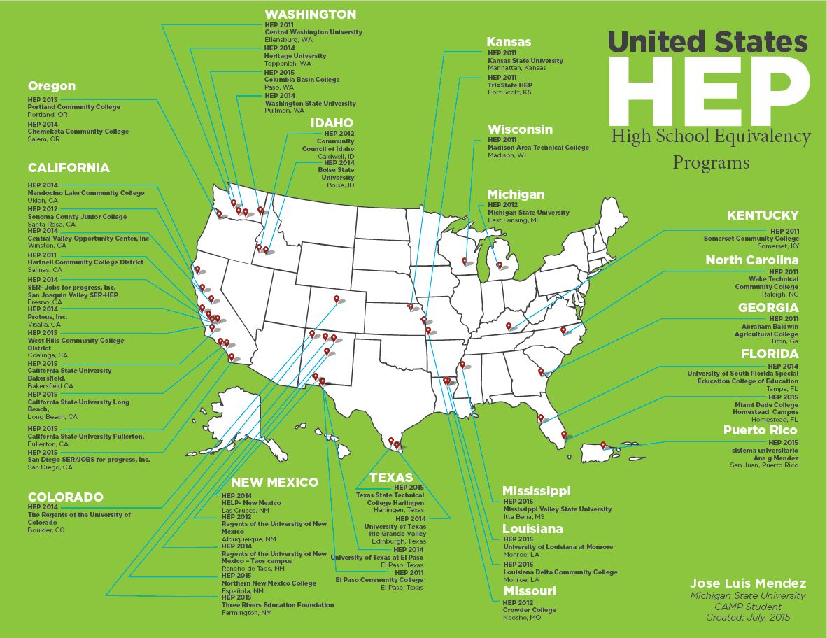 Map of HEP Programs in USA
